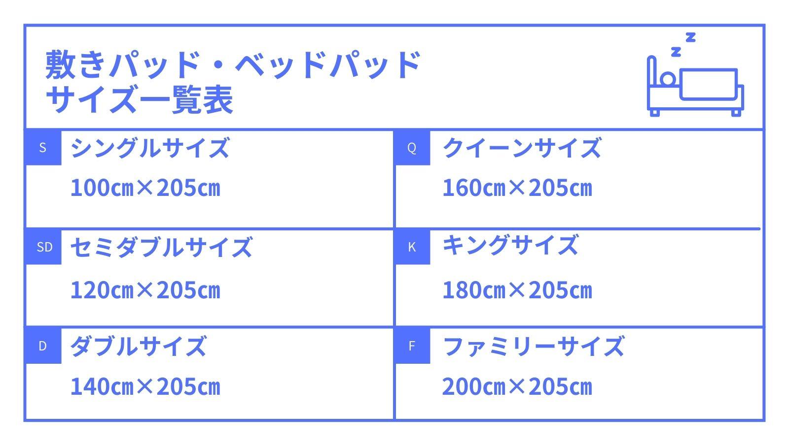 敷きパッド・ベッドパッドのサイズ一覧表
